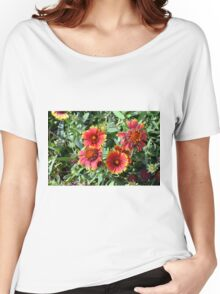 Red beautiful flowers in the garden. Women's Relaxed Fit T-Shirt
