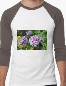 Macro on purple flowers in the garden. Men's Baseball ¾ T-Shirt