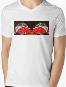Red combi Volkswagen Twin Mens V-Neck T-Shirt