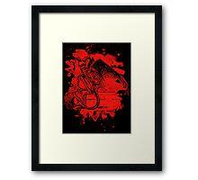 Sitting Demon – bleached red Framed Print