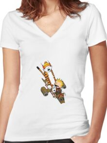captain calvin and hobbe Women's Fitted V-Neck T-Shirt