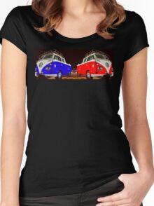 Volkswagen Combi Duo Blue & Red  Women's Fitted Scoop T-Shirt