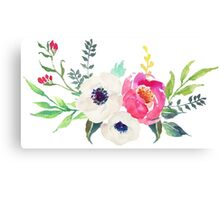 Anemone Peony Watercolor Bouquet Canvas Print