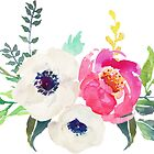 Anemone Peony Watercolor Bouquet by junkydotcom