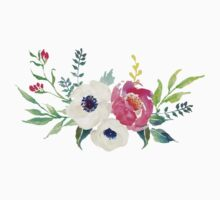 Anemone Peony Watercolor Bouquet Kids Tee