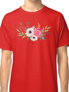 Anemone Peony Watercolor Bouquet Classic T-Shirt