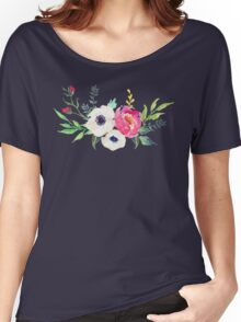 Anemone Peony Watercolor Bouquet Women's Relaxed Fit T-Shirt