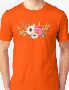 Anemone Peony Watercolor Bouquet Unisex T-Shirt