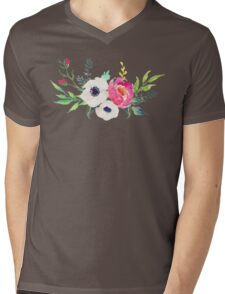 Anemone Peony Watercolor Bouquet Mens V-Neck T-Shirt