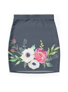Anemone Peony Watercolor Bouquet Mini Skirt