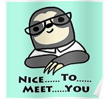 Nice To Meet You Sloth Poster