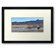 Mountain village winter brook Framed Print