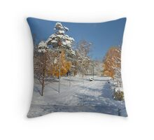 Winter alley of trees Throw Pillow