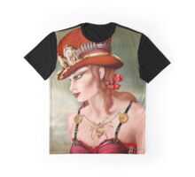 Steam Punk Woman in Red Graphic T-Shirt