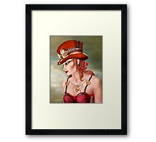 Steam Punk Woman in Red Framed Print