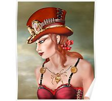 Steam Punk Woman in Red Poster