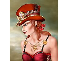 Steam Punk Woman in Red Photographic Print