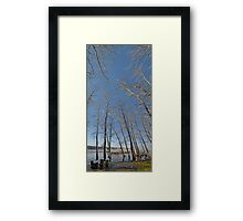 river water trees snow Framed Print