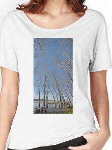 river water trees snow Women's Relaxed Fit T-Shirt