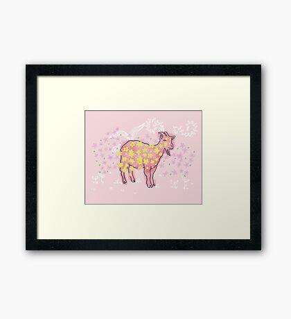 Goat rolled on flower garden  Framed Print