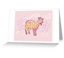 Goat rolled on flower garden  Greeting Card