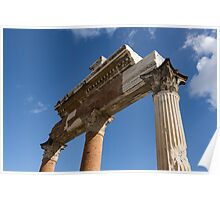 Ancient Pompeii Broken Treasures - A Skyward View of a Classical Corinthian Colonnade Right Poster