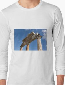 Ancient Pompeii Broken Treasures - A Skyward View of a Classical Corinthian Colonnade Right Long Sleeve T-Shirt