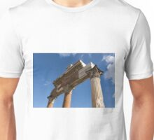 Ancient Pompeii Broken Treasures - A Skyward View of a Classical Corinthian Colonnade Right Unisex T-Shirt