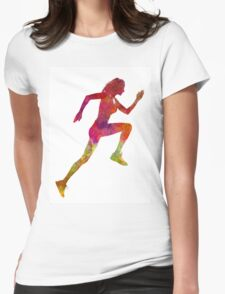 Woman runner running jogger jogging silhouette 02 Womens Fitted T-Shirt