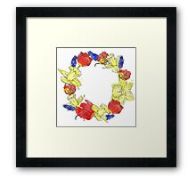 Watercolor spring flower wreath Framed Print