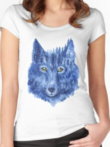 Wolf. Forest animal. Watercolor Animal Wolf. Women's Fitted Scoop T-Shirt