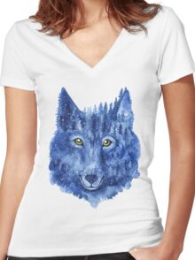Wolf. Forest animal. Watercolor Animal Wolf. Women's Fitted V-Neck T-Shirt