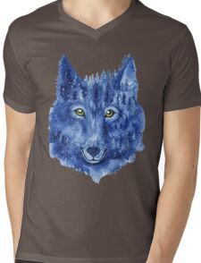 Wolf. Forest animal. Watercolor Animal Wolf. Mens V-Neck T-Shirt