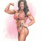 body builder watercolor by Mike Theuer