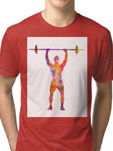 Body buiding man isolated  Tri-blend T-Shirt