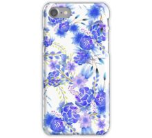 Elegant pink blue watercolor cute flowers pattern iPhone Case/Skin