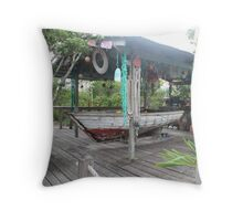 bahamas cabana with boat Throw Pillow