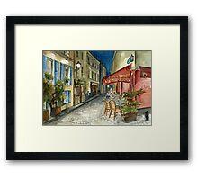 Paris - Montmartre by Night: Le Tire-Bouchon Creperie Framed Print