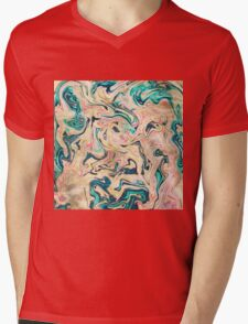 Modern marbled abstract paint Mens V-Neck T-Shirt