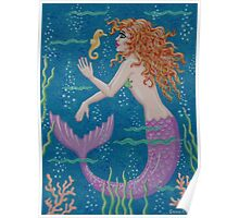 Little Mermaid and her Seahorse Friend Poster