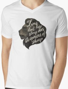 Lions don't lose sleep over the opinions of sheep Mens V-Neck T-Shirt