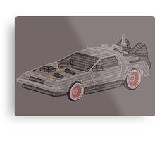 DeLorean Typography Metal Print