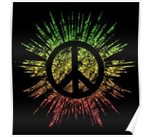 Tie Dye Peace Sign Rasta Poster