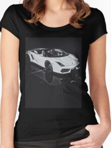 Lamborghini Gallardo Black and white Women's Fitted Scoop T-Shirt