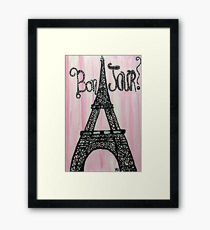 Bon Jour Eiffel Tower Framed Print