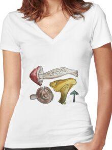 Mushroom Tetris Women's Fitted V-Neck T-Shirt