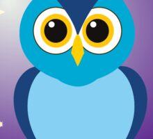 Blue Owl in Purple Night Sky Sticker