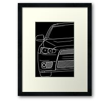 Evo 10 outline - white Framed Print