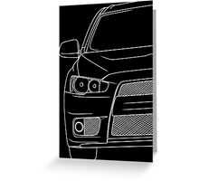 Evo 10 outline - white Greeting Card
