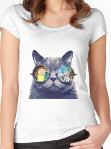 Rick and Morty Cat Women's Fitted Scoop T-Shirt
